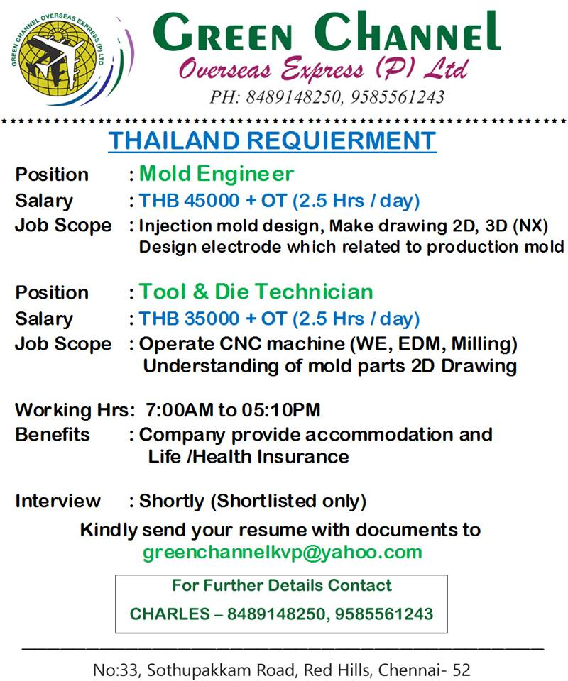 Engineers / Technicians Required for Thailand