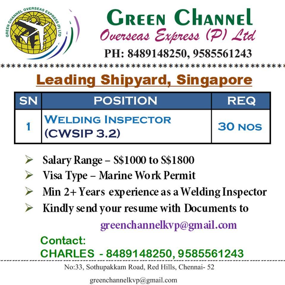 Welding Inspector (CSWIP 3 2) for Leading Shipyard – Singapore