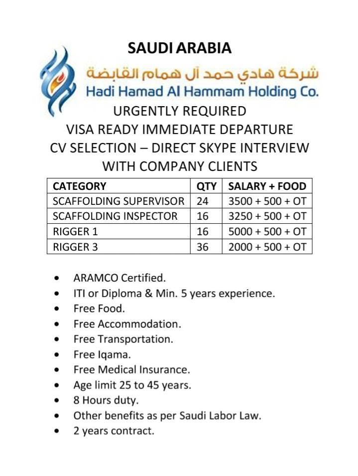 Hadi Hamad Al Hammam Holding Co  URGENTLY REQUIRED VISA READY