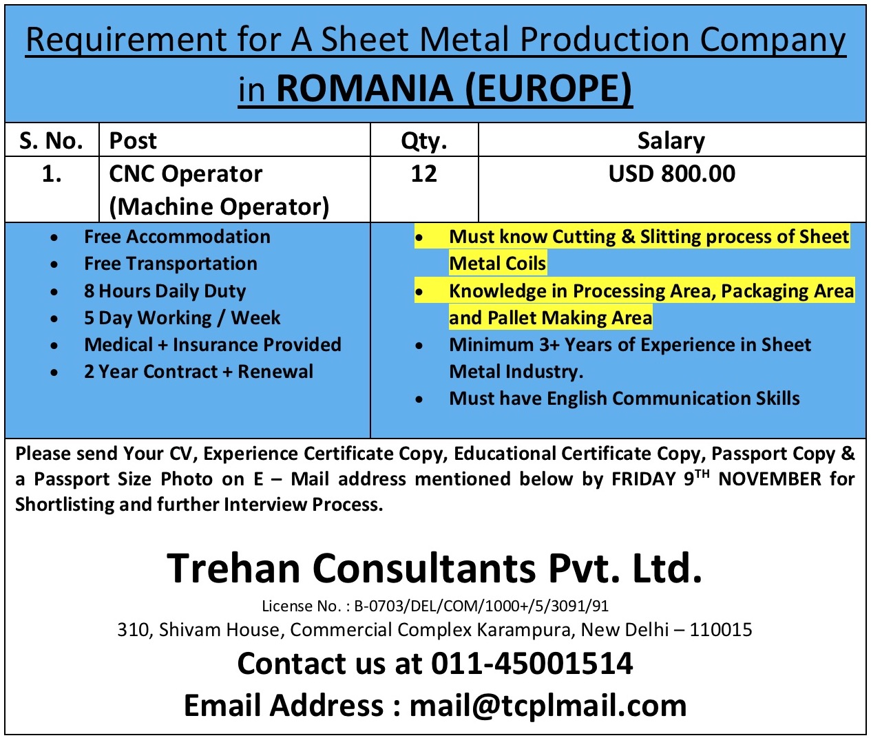 Cnc Operator Requirement For A Sheet Metal Production Company In