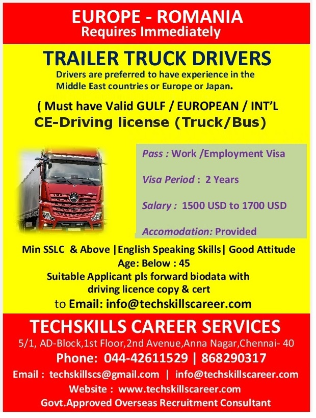 Required for Romania(Europe) - TRAILER TRUCK DRIVERS