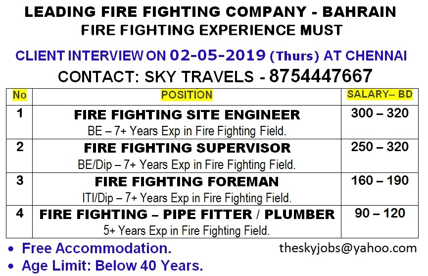 Urgently Required Above Position For Naffco Company Bahrain