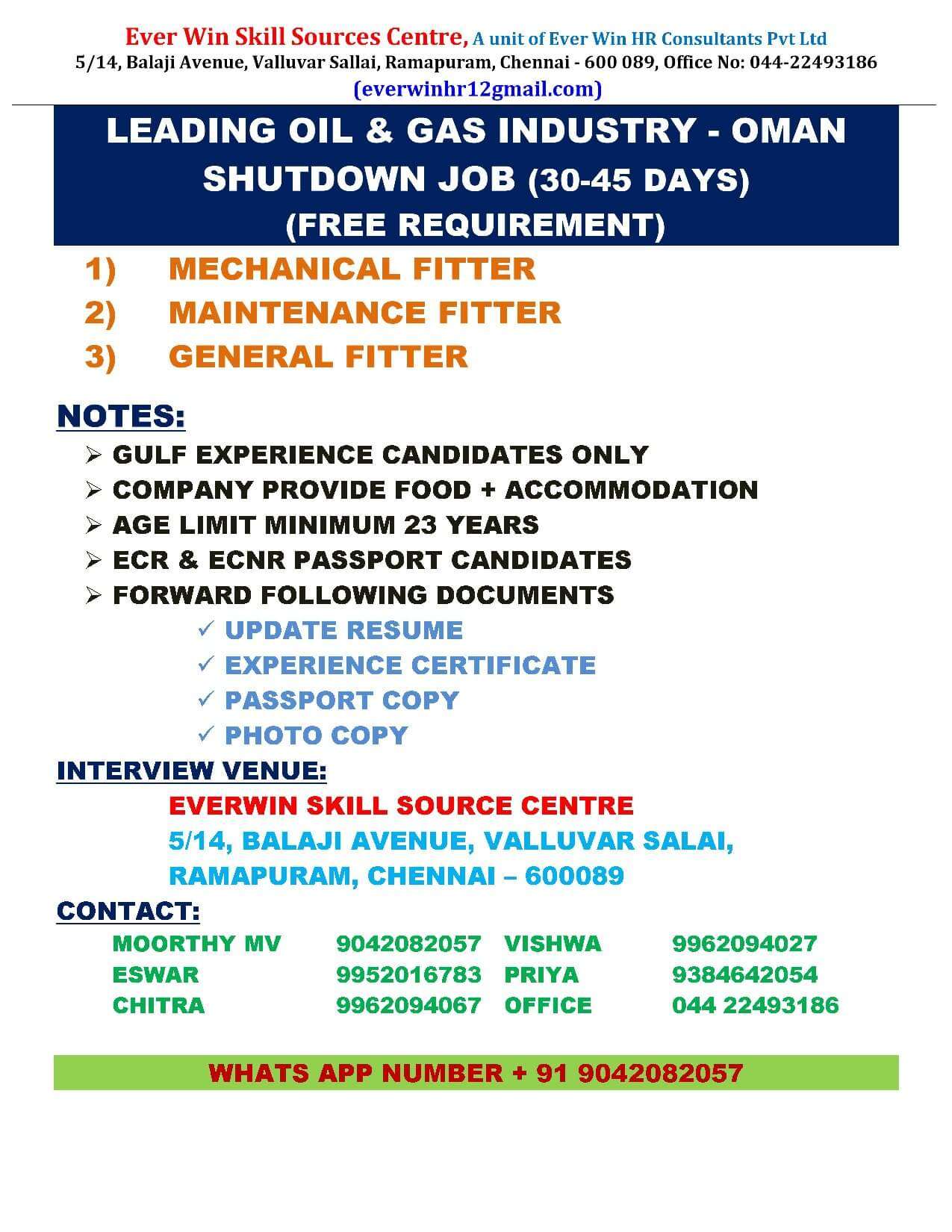 FREE REQUIREMENT FOR OIL & GAS INDUSTRY SHUTDOWN JOB IN OMAN