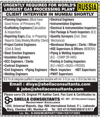 URGENTLY REQUIRED FOR WORLD'S LARGEST GAS PROCESSING PLANT