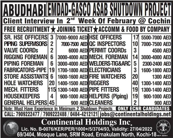 FREE RECRUITMENT FOR EMDAD – GASCO ASAB SHUTDOWN PROJECT IN