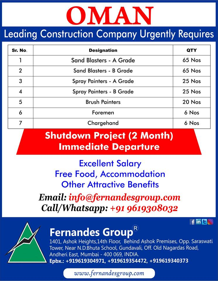 OMAN Leading Construction Company Urgently Requires