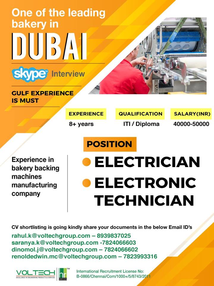 ELECTRICIAN & ELECTRONIC TECHNICIAN FOR A LEADING COMPANY IN