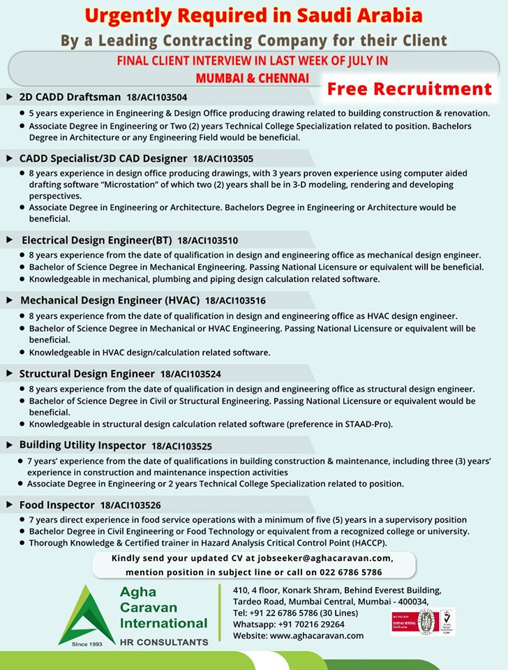 Urgently Required in Saudi Arabia for #2DCADD Draftsman ...