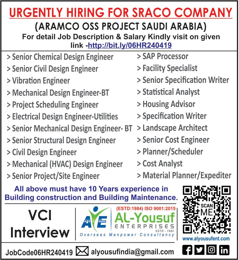 URGENTLY HIRING FOR SRACO COMPANY (ARAMCO OSS PROJECT SAUDI ARABIA)