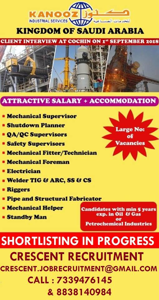 URGENTLY REQUIRED KANOOZ INDUSTRIAL SERVICES KINGDOM OF SAUDI ARABIA