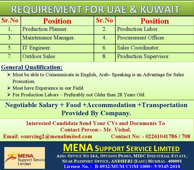 REQUIREMENT FOR UAE & KUWAIT