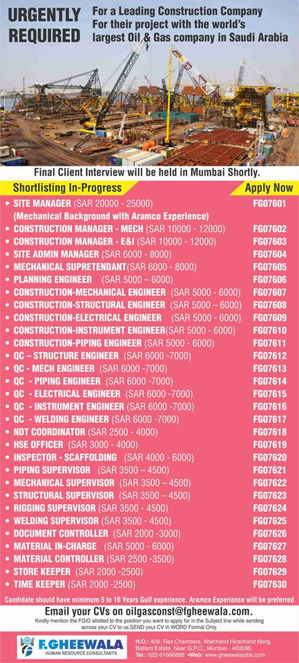 URGENTLY REQUIRED for leading Construction Company KSA