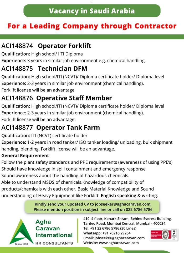 Operators / Technicians Vacancies in Saudi Arabia