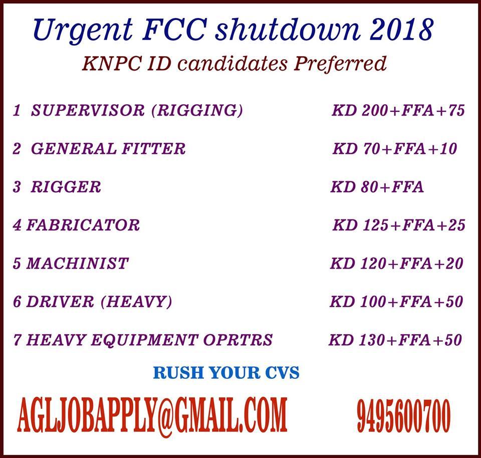 Urgent FCC shutdown 2018 KNPC ID candidates Preferred