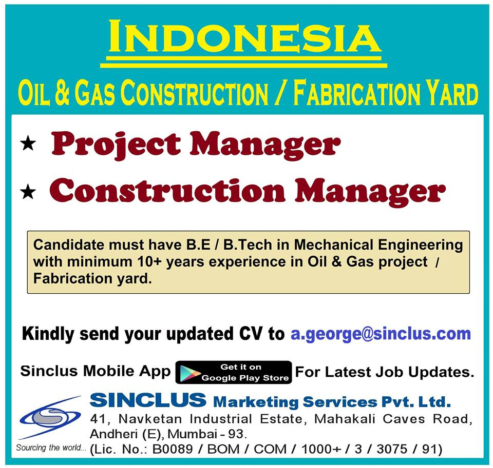 Construction manager jobs oil and gas