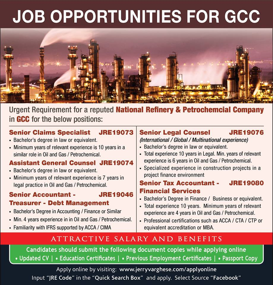 Job Opportunity for GCC – National Refinery & Petroleum Company