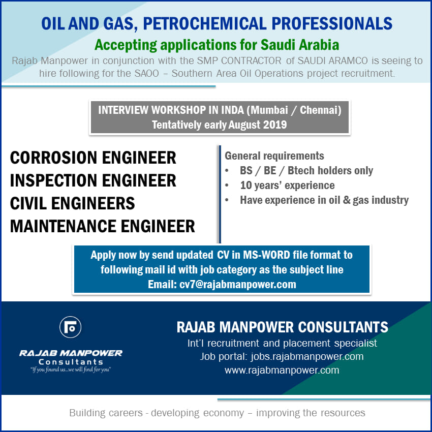 OIL AND GAS, PETROCHEMICAL PROFESSIONALS Accepting
