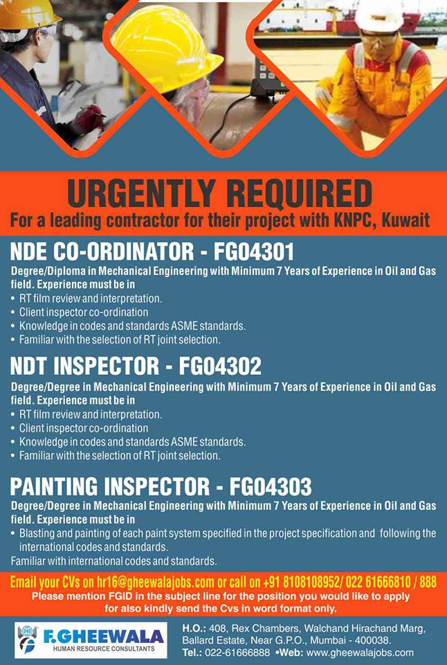 URGENTLY REQUIRED FOR KNPC, Kuwait