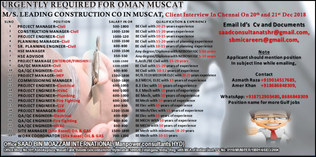 Urgently Required for Oman Muscat - Leading Construction Company