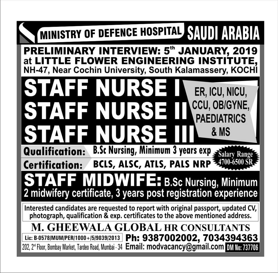 Staff Nurse / Staff Midwife Requirements for Ministry of