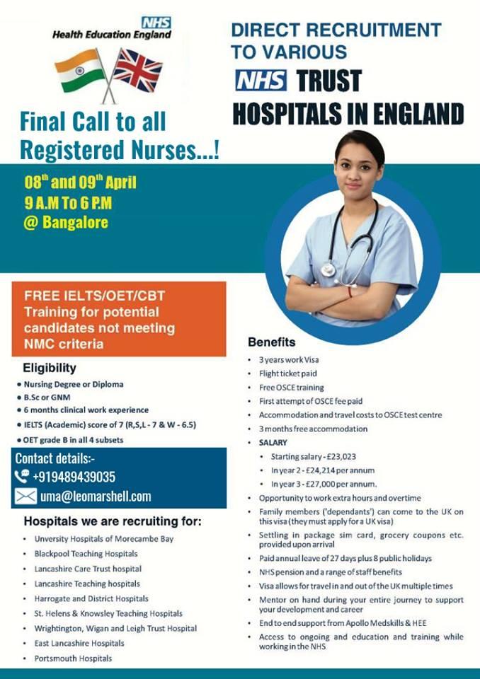NURSES-FREE RECRUITMENT TO VARIOUS NHS IN ENHLAND