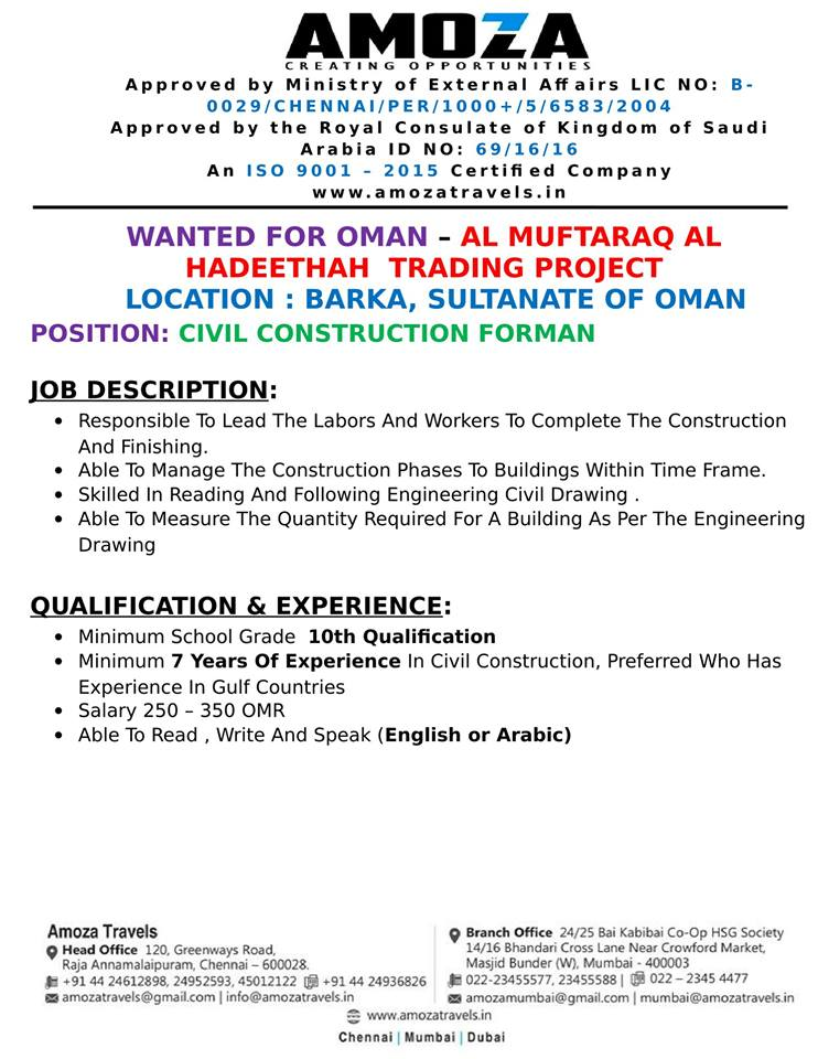 Wanted For Oman Al Muftaraq Al Hadeethah Trading Project