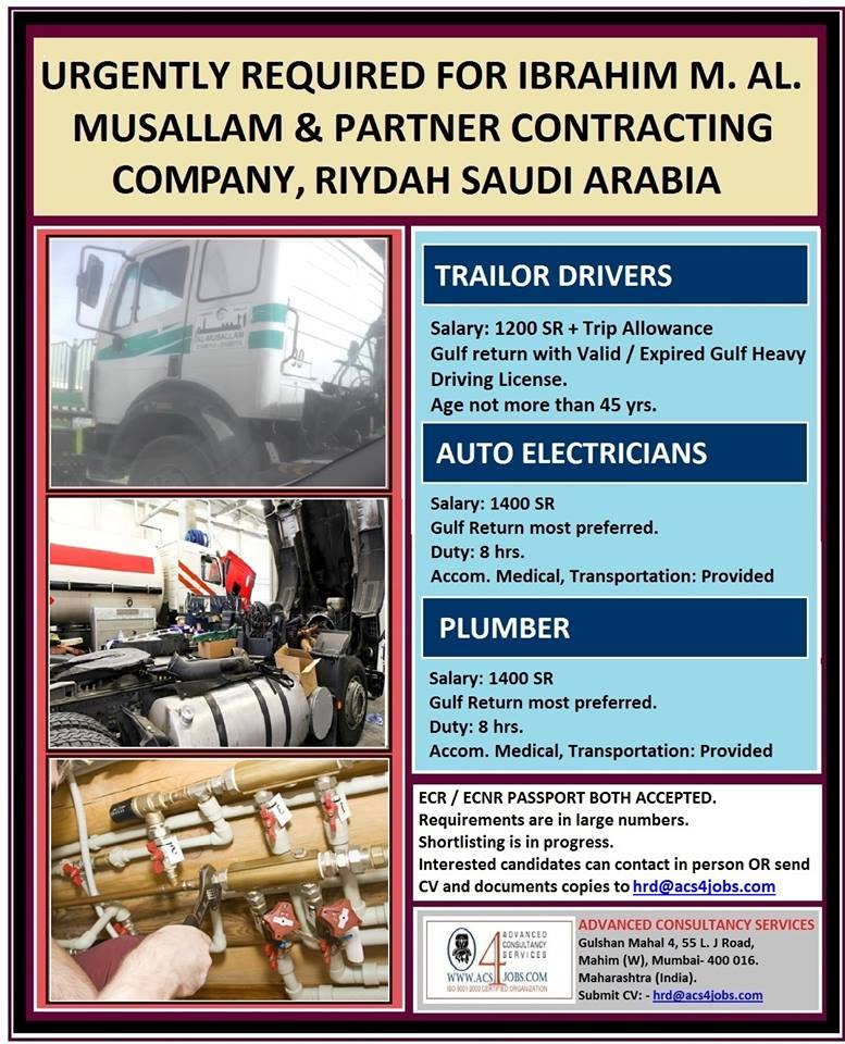 Urgently Required for Ibrahim M Al Musallam & Partner Contracting
