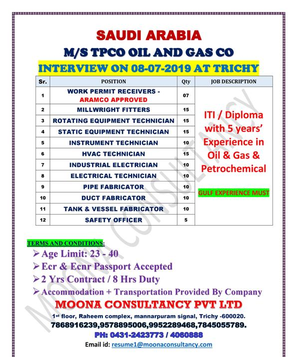 SAUDI ARABIA M/S TPCO OIL AND GAS CO INTERVIEW ON 08-07-2019