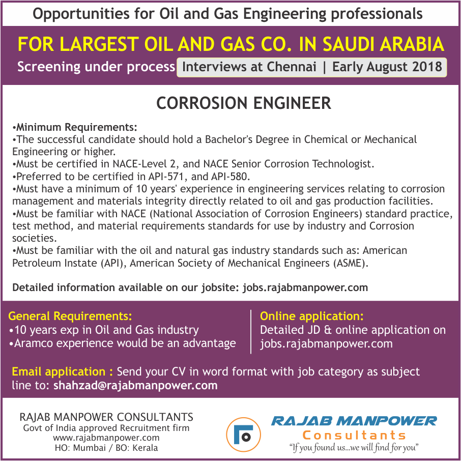CORROSION ENGINEER for Saudi Arabia's largest Oil and Gas Co