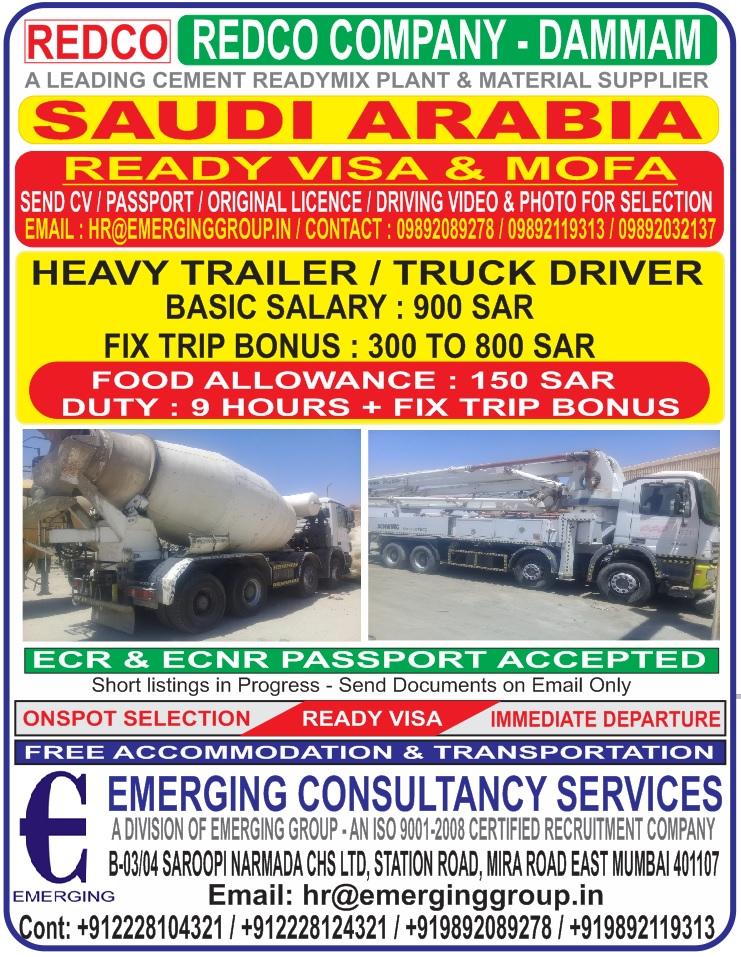 HEAVY TRAILER / TRUCK DRIVER - REQUIRED FOR REDCO DAMMAM SAUDI ARABIA