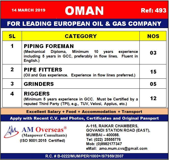 HIRING FOR LEADING EUROPEAN OIL & GAS COMPANY IN OMAN