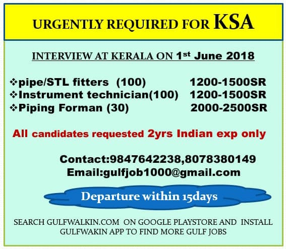 URGENTLY REQUIRED FOR KSA pipe/STL fitters & Instrument technician