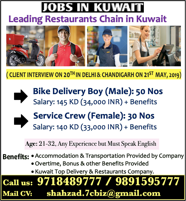 Opening for Company Operating Restaurants in Kuwait