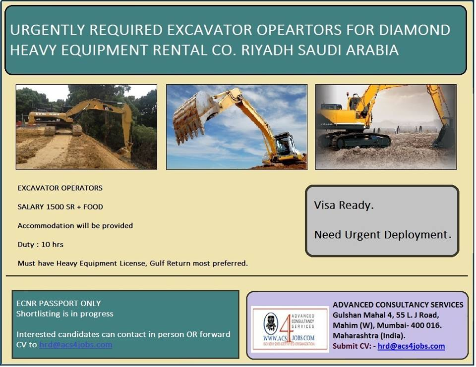 Required Excavator Operators for Diamond Heavy Equipment