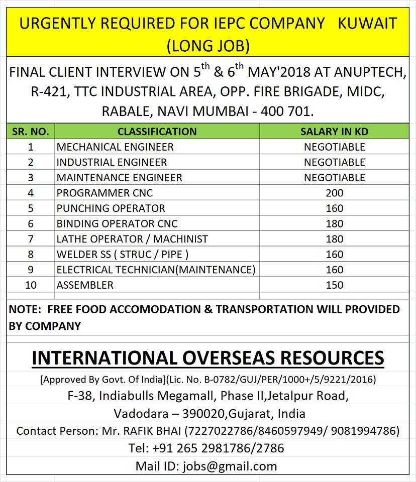 REQUIRED FOR IEPC COMPANY KUWAIT (LONG JOB)